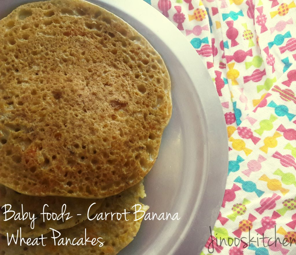Baby foodz- Carrot Banana Wheat Pancakes