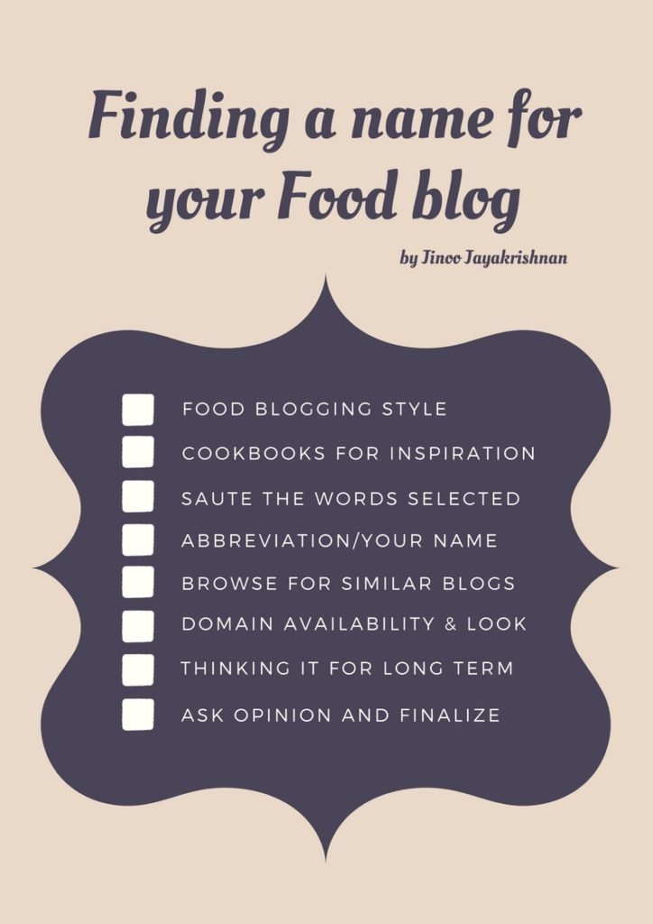 How to start a Food blog –  Series #2: Choosing a name for your food blog