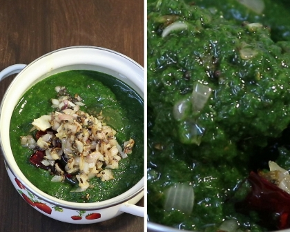 Easy spinach gravy for rice