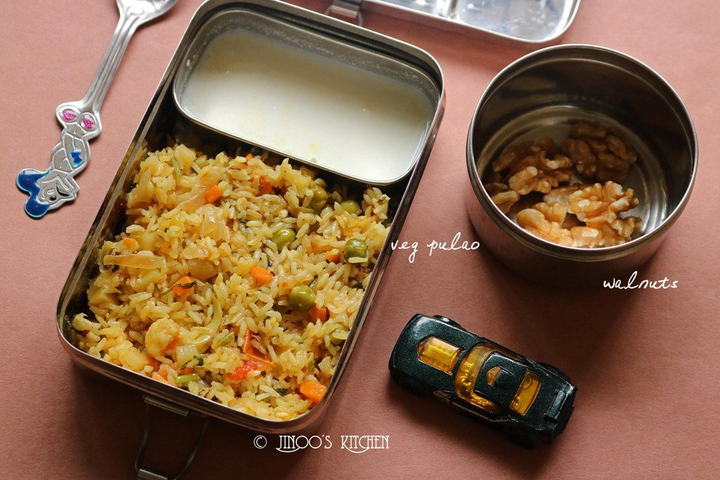 Kids lunch box recipes # 8 veg pulao and walnuts