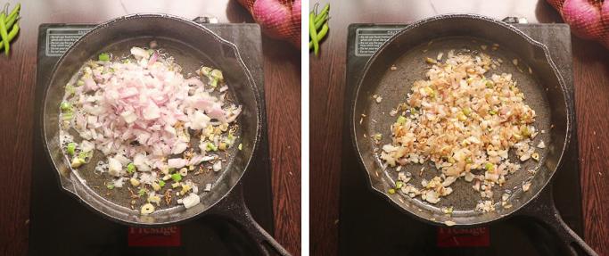 fry onions - mushroom egg masala
