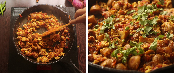 mix and fry -mushroom egg masala