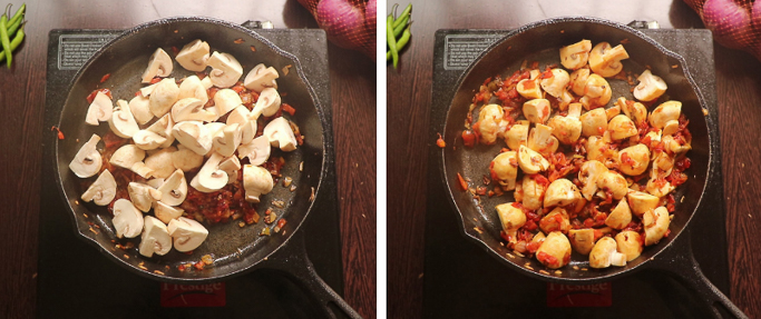 fry mushrooms - mushroom egg masala