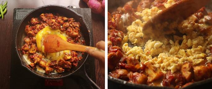 scramble eggs - mushroom egg masala