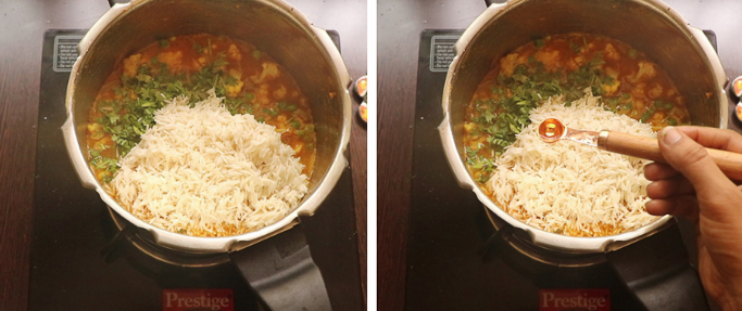 soaked rice. pressure cooker biryani recipe