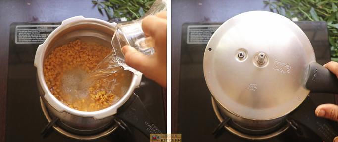 cook the dal ponnanganni keerai sambar
