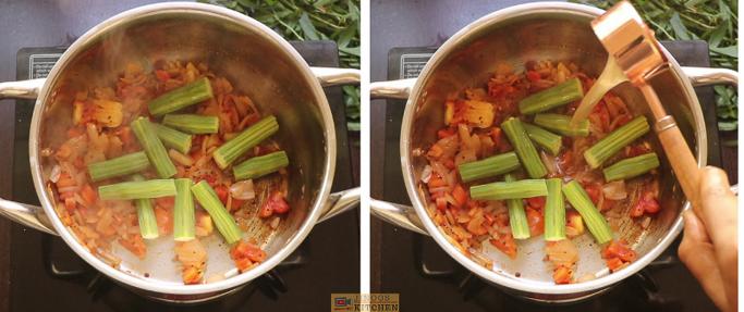 add srumstick,tamrind ponnanganni keerai sambar