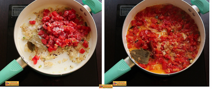 fry the tomatoes Egg white curry